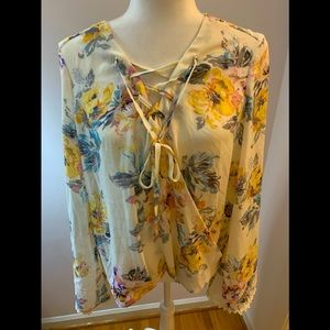 Envy floral tunic w/ties, size M